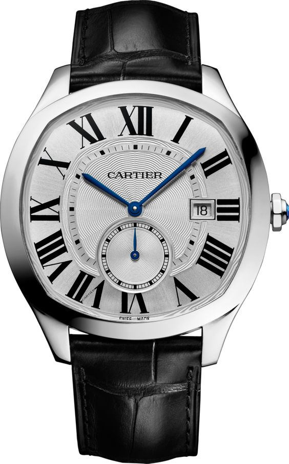 Drive de Cartier watch, Manufacture self-winding mechanical movement, caliber 1904-PS MC. Steel case, length: 40 mm, width: 41 mm, thickness: 11.25 mm, octagonal steel crown set with a faceted synthetic spinel. Silvered flinqué dial, Roman numerals, blued-steel leaf-shaped second hand, blued-steel sword-shaped hour and minute hands. Sapphire crystal. Black semi-matte alligator skin strap, 18 mm steel double adjustable folding buckle. Calendar aperture at 3 o'clock, small seconds counter at 6 o'clock, sapphire case back. Water-resistant to 3 bar (approx. 30 meters/100 feet).