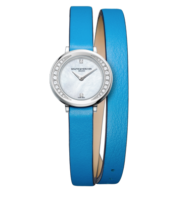Baumer Mercier 22mm, diamond-set mother-of-pearl watch for ladies, the Petite Promesse 10288 comes with a Swiss Made quartz movement and is delivered on a wrap-around blue calfskin strap with an additional single black calfskin strap.