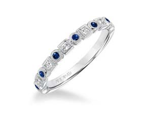ArtCarved Stackable Band, Fashioned in 14K White Gold, Featuring Six Round Blue Sapphires =.18cts Total Weight and Seven Round Diamonds =.17cts Total Weight