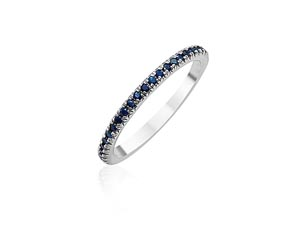 ArtCarved 14K White Gold Blue Sapphire Eternity Band