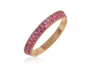 Bez Ambar Two-Row Bookend Eternity Band, Fashioned in 18K Rose Gold, Featuring Ninety Round Pink Sapphires =.85cts Total Weight