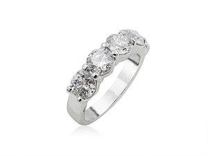 Alson Signature Collection 18K White Gold Shared Prong Diamond Band, Featuring 5 Round Diamonds =2.50cts Total Weight, G-H Color, SI Clarity