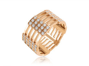 Melissa Kaye 18K Rose Gold Izzy Diamond Band, Featuring 90 Round Diamonds =.95cts Total Weight