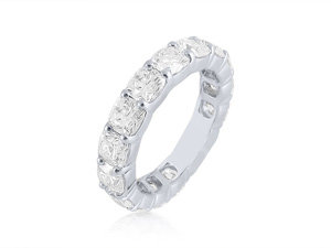 J.B. Star Platinum Shared Prong Diamond Eternity Band, Featuring 16 Cushion Shaped Diamonds =5.22cts Total Weight