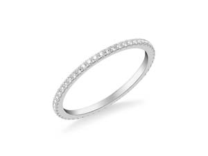 ArtCarved 14K White Gold Four-Prong Diamond Band