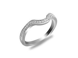 ArtCarved 14K White Gold Diamond Band with Milgrain Edge.  .16ct.