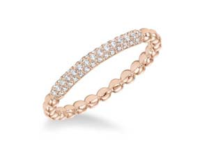 ArtCarved Stackable Band, Fashioned in 14K Rose Gold, Featuring Forty-Three Round Diamonds =.18cts Total Weight