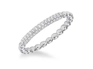 ArtCarved Stackable Band, Fashioned in 14K White Gold, Featuring Forty-Three Round Diamonds =.18cts Total Weight