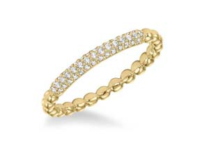 ArtCarved Stackable Band, Fashioned in 14K Yellow Gold, Featuring Forty-Three Round Diamonds =.18cts Total Weight