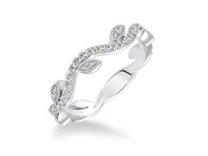 ArtCarved Stackable Band, Fashioned in 14K White Gold, Featuring Fifty-Five Round Diamonds =.39cts Total Weight
