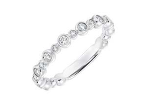 ArtCarved Stackable Band, Fashioned in 14K White Gold, Featuring Thirteen Round Diamonds =.25cts Total Weight