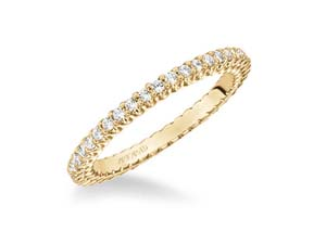 ArtCarved Stackable Eternity Band, Fashioned in 14K Yellow Gold, Featuring Forty-Two Round Diamonds =.50cts Total Weight