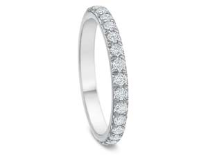 Precision Set New Aire Split Shared Prong Eternity Band, Fashioned in 18K White Gold, Featuring Thirty Round Diamonds =.75cts Total Weight