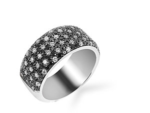 Bez Ambar Five Row Twinkle Band, Fashioned in 18K White Gold, Featuring 58 Round White Diamonds =.53cts Total Weight and 106 Round Black Diamonds =.96cts Total Weight
