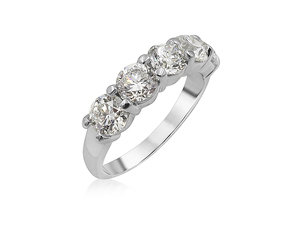 Alson Signature Collection 18K White Gold Shared Prong Diamond Band