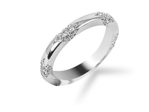 From the Michael B Jewelry Collection, this Platinum and Diamond Anniversary Band Features a Lace Design and Forty Two Round Diamonds =.56cts Total Weight