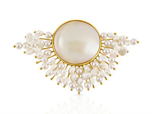 Alson Signature Collection 14K Yellow Gold Pearl Pin with Large Round Mabe Pearl