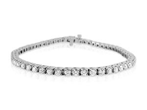 Alson Signature Collection Four-Prong Diamond Bracelet, Fashioned in 14K White Gold, Featuring Fifty-Six Round Diamonds =3.51cts Total Weight, G/H Color, VS-SI1 Clarity