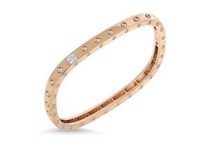 Roberto Coin 18K Rose & White Gold Pois Moi Single Row Diamond Bangle Bracelet, Featuring a Station of 5 Round Diamonds =.07cts Total Weight