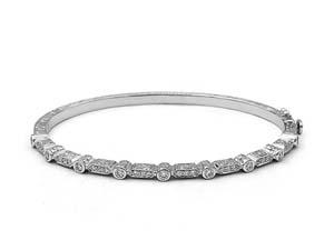 Penny Preville 18K White Gold Round & Bar Diamond Bangle Bracelet