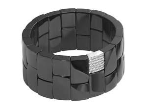 Roberto Demeglio 18K White Gold & Black Ceramic Diamond Stretch Bracelet