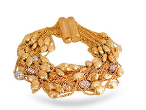 Marco Bicego Twenty-Strand Diamond Bead Bracelet, Fashioned in 18K Yellow Gold, Featuring Seven Pave Diamond Bead Sections =1.37cts Total Weight