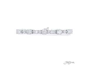 J.B. Star Bracelet, Fashioned in Platinum, Featuring 12 Cushion Shaped Diamonds =7.16cts Total Weight and 12 Round Diamonds =2.09cts Total Weight, G Color, VS Clarity