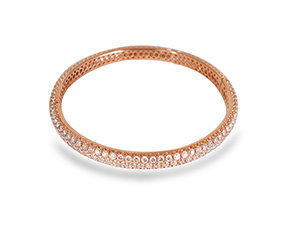 Alson Signature Collection Three Row Diamond Bangle Bracelet, Fashioned in 18K Rose Gold, Featuring 301 Round Diamonds =8.56cts Total Weight