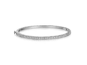 Penny Preville Thin Engraved Hinged Bangle Bracelet, Fashioned in 18K White Gold, Featuring Thirty-Four Round Diamonds =.68cts Total Weight