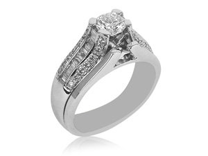 From The Alson Signature Collection, a Bridal Set, Fashioned in 14K White and Yellow Gold, Featuring a .50 Carat Round Diamond, I Color, SI2 Clarity, Accented with 30 Round and 20 Tapered Baguette Diamonds Equaling .53 Carats, with a Plain Wedding Band.
