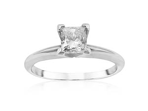 Alson Signature Collection Solitaire Engagement Ring, Fashioned in 18K White Gold and Platinum, Featuring a .61 Carat Princess Cut Diamond, SI2 Clarity, I Color