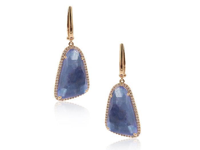 Doves 18K Rose Gold Diamond Earring Lapis Mother of Pearl Light Amethyst Triplet