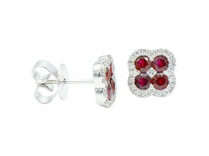 Alson Signature Collection 18K White Gold Ruby & Diamond Flower Stud Earrings