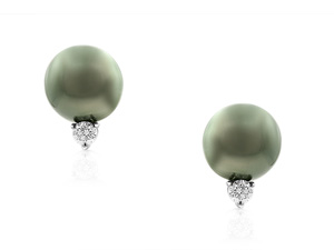 Mikimoto 18K White Gold Pearl & Diamond Earrings, Featuring (2) 11MM Black South Sea Cultured Pearls, Accented with 2 Round Diamonds =.30cts Total Weight