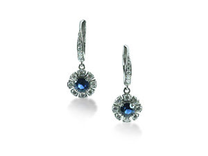 Penny Preville 18K White Gold Earrings, Featuring (2) 5MM Round Blue Sapphires =1.32cts Total Weight, Accented with  28 Round Diamonds =.81cts Total Weight