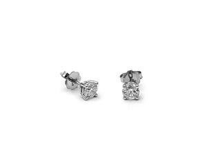Alson Signature Collection 14K White Gold Stud Earrings, Featuring 2 Round Diamonds =.51cts Total Weight, I1 Clarity, H Color