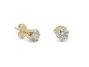 Alson Signature Collection 14K Yellow Gold .96CTW Diamond Stud Earrings