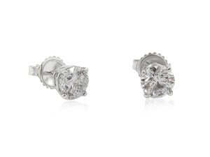 Alson Signature Collection 14K White Gold Four-Prong Diamond Stud Earrings, Featuring 2 Round Diamonds =2.00cts Total Weight, I1 Clarity, J Color