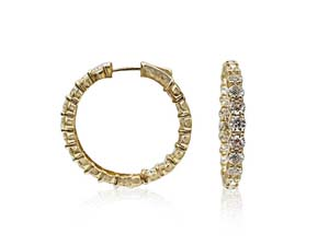 Alson Signature Collection 14K Yellow Gold Inside/Outside Diamond Hoop Earrings