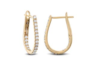 Alson Signature Collection 18K Yellow Gold Inside/Outside Diamond Hoop Earrings
