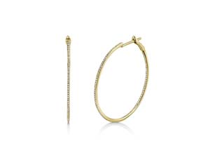 Alson Signature Collection 14K Yellow Gold Diamond Hoop Earrings