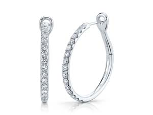 Alson Signature Collection 14K White Gold Diamond Hoop Earrings