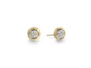 Marco Bicego Delicati Small Round Earrings, Fashioned in 18K Yellow and White Gold, Featuring Round Diamonds =.15cts Total Weight