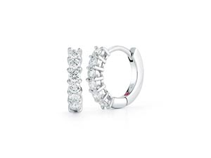 Roberto Coin 18K White Gold 15MM Huggie Hoop Earrings, Featuring 12 Round Diamonds =.70cts Total Weight