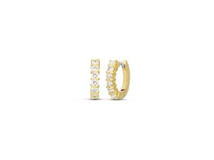 Roberto Coin 15MM Diamond Huggie Hoops, Fashioned in 18K Yellow Gold, Featuring Twelve Round Diamonds =.70cts Total Weight