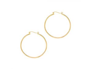 Alson Signature Collection 14K Yellow Gold 1.5x40MM Hoop Earrings
