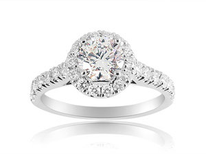 Alson Signature Collection 14K White Gold Diamond Halo Engagement Ring, Featuring a .70 Carat Round Diamond, H Color, I1 Clarity, Accented with 28 Round Diamonds =.55cts Total Weight