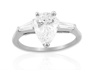 Alson Signature Collection Platinum Diamond Engagement Ring, Featuring a 1.06 Carat Pear Shaped Diamond, VS2 Clarity, D Color, GIA Certified, Accented with 2 Tapered Baguette Diamonds =.20cts Total Weight