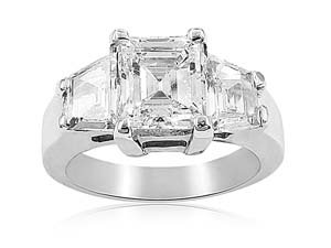 Alson Signature Collection Platinum Diamond Engagement Ring, Featuring a 2.05 Carat Emerald Cut Diamond, SI2 Clarity, I Color, GIA Certified, Accented with 2 Shield Diamonds =1.00ct Total Weight