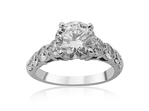 Alson Signature Collection Platinum Diamond Shared Prong Engagement Ring